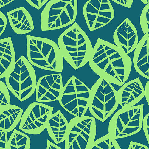 Green leaves on dark green cotton from Andover Fabrics - view 1