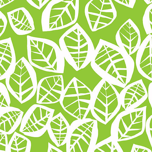 White leaves on light green cotton from Andover Fabrics - view 1