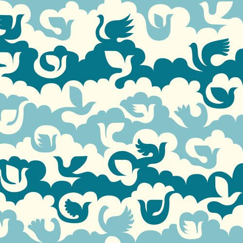 Birds and Clouds on Blue Cotton from Birch Organic Fabrics - view 1