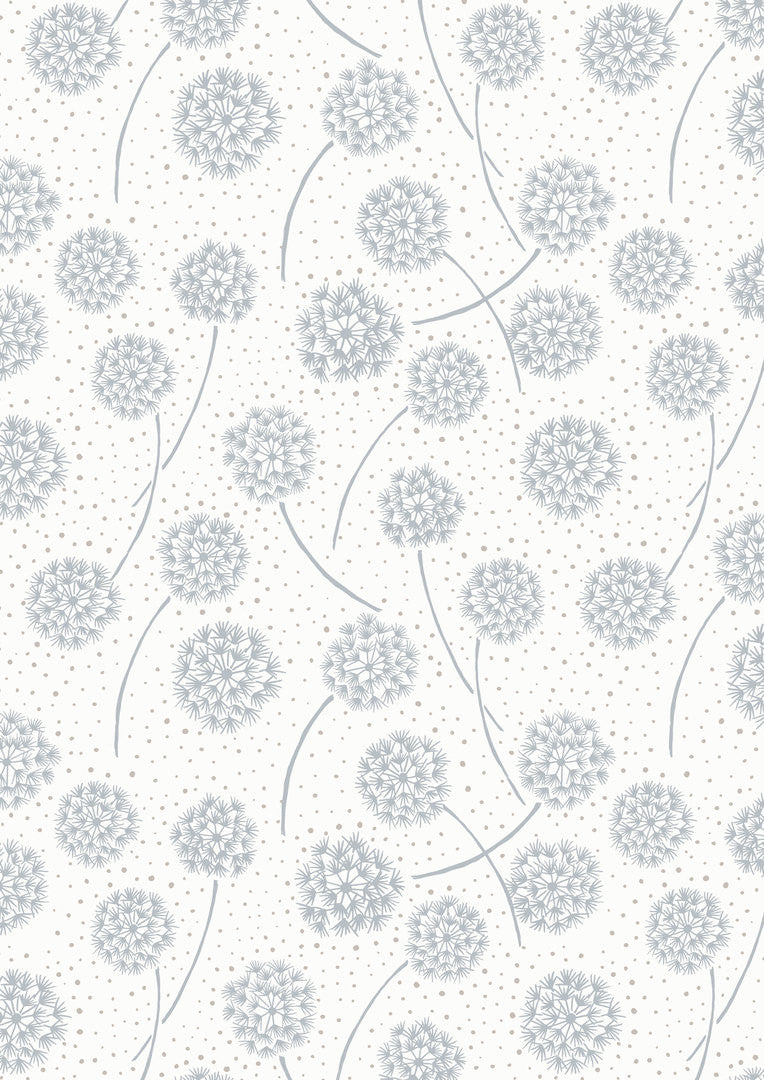 Grey dandelions on white cotton fabric from EE Schenck - view 1
