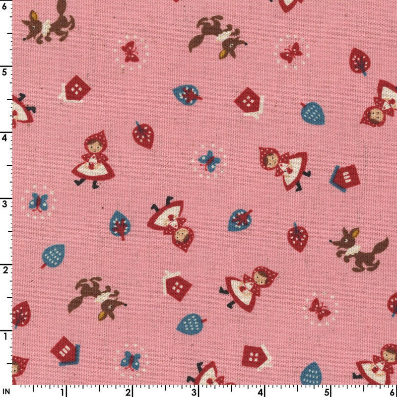 Trees and Red Riding Hood on green cotton from Moda Fabrics - view 2