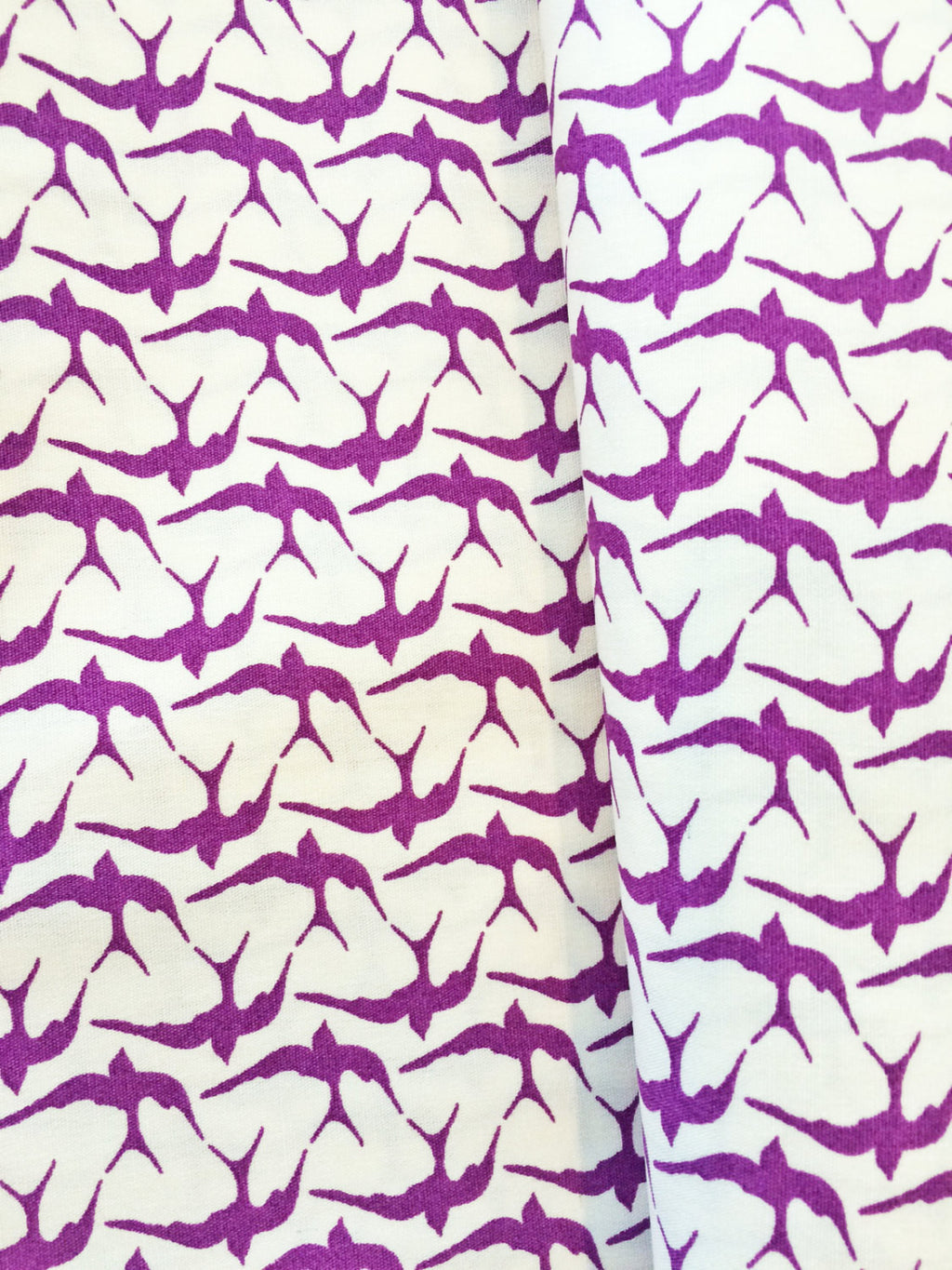Small flying birds on white organic cotton from Birch Organic Fabric - view 1