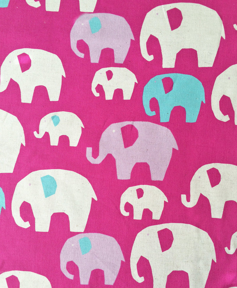 Purple white and blue elephants on pink canvas from Kokka Fabrics - view 1