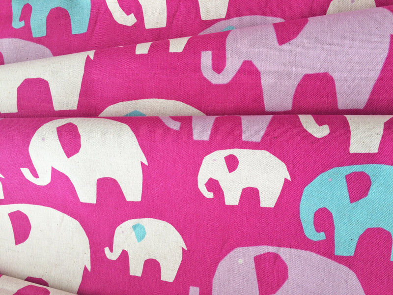 Purple white and blue elephants on pink canvas from Kokka Fabrics - view 2