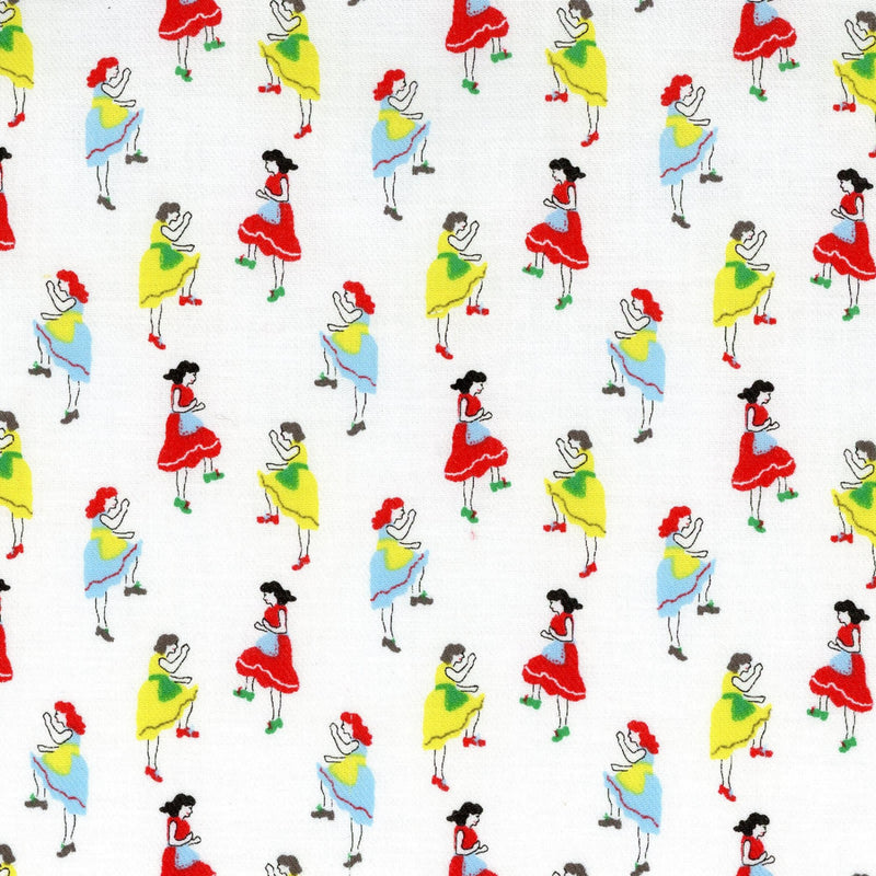 Red Riding Hood on blue canvas from Kokka Fabrics - view 1