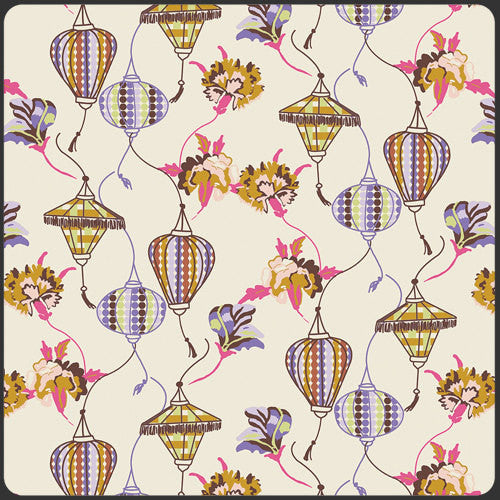 Floating lanterns and exotic flowers create a bohemian print from Art Gallery Fabrics - view 1