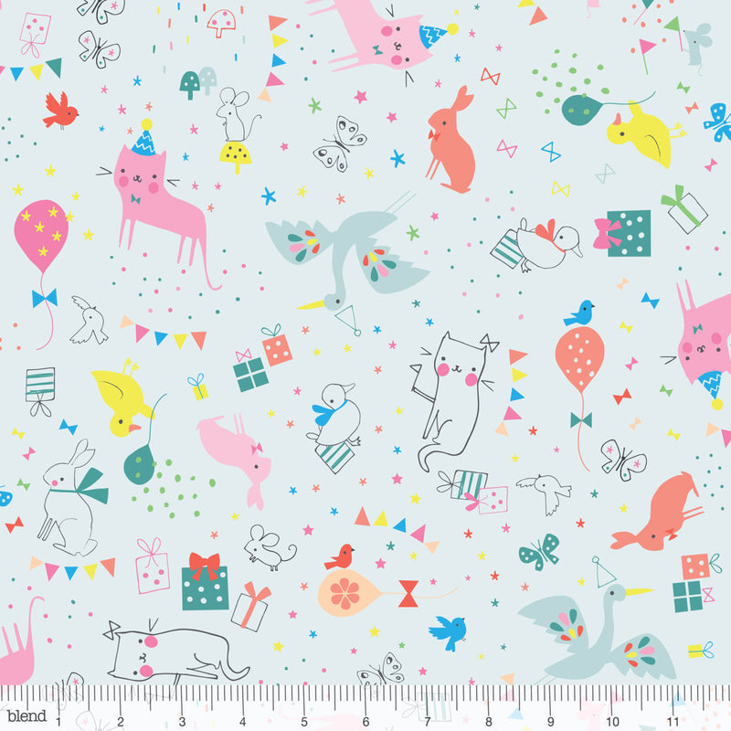 Cute cats and bunnies on blue cotton from Blend Fabrics - view 1