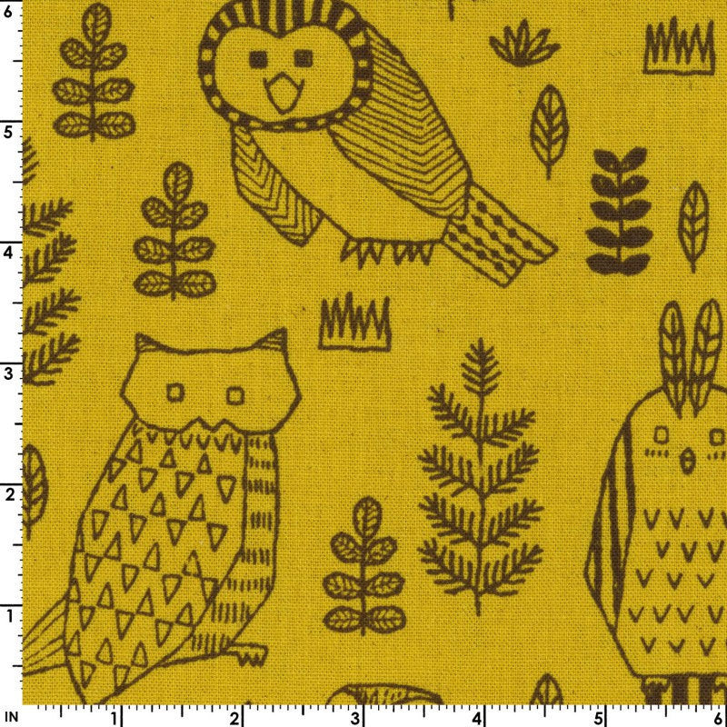 Owls on yellow canvas from Kokka Fabrics - view 2