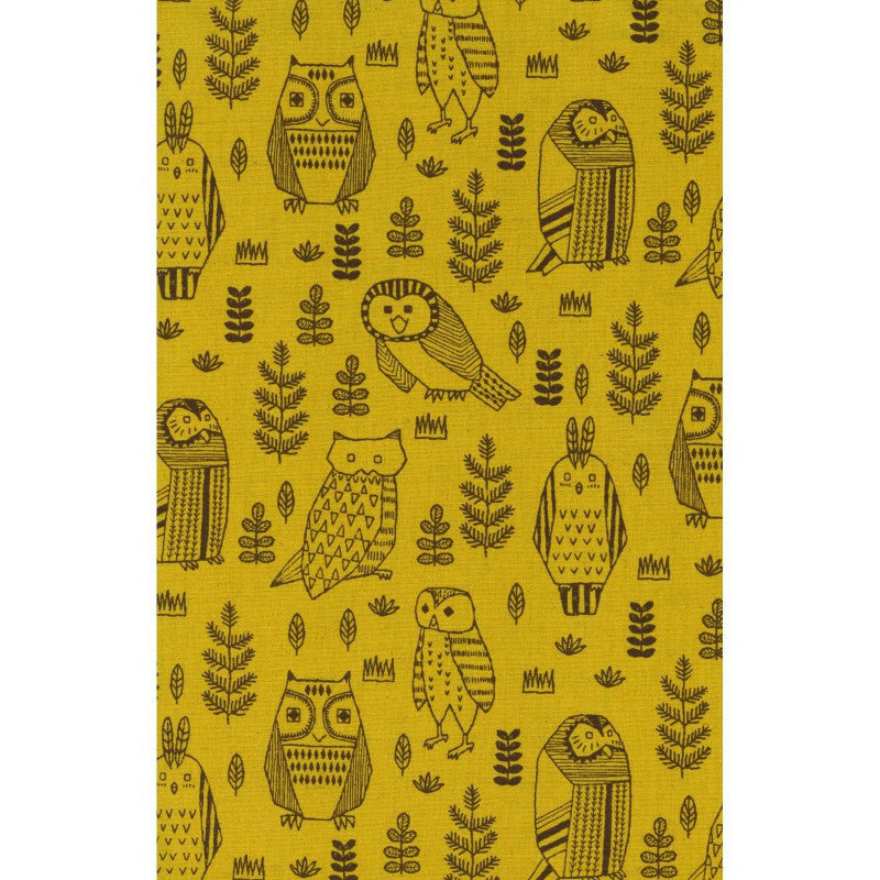 Owls on yellow canvas from Kokka Fabrics - view 3