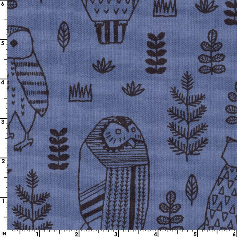 Owls on blue canvas from Kokka Fabrics - view 2