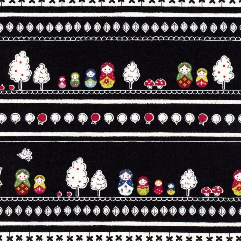 Stiped tree fabric on black oxford cotton from Kokka Fabric - view 1