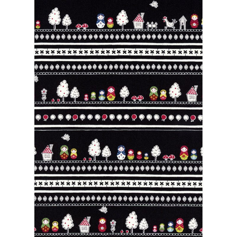 Stiped tree fabric on black oxford cotton from Kokka Fabric - view 3