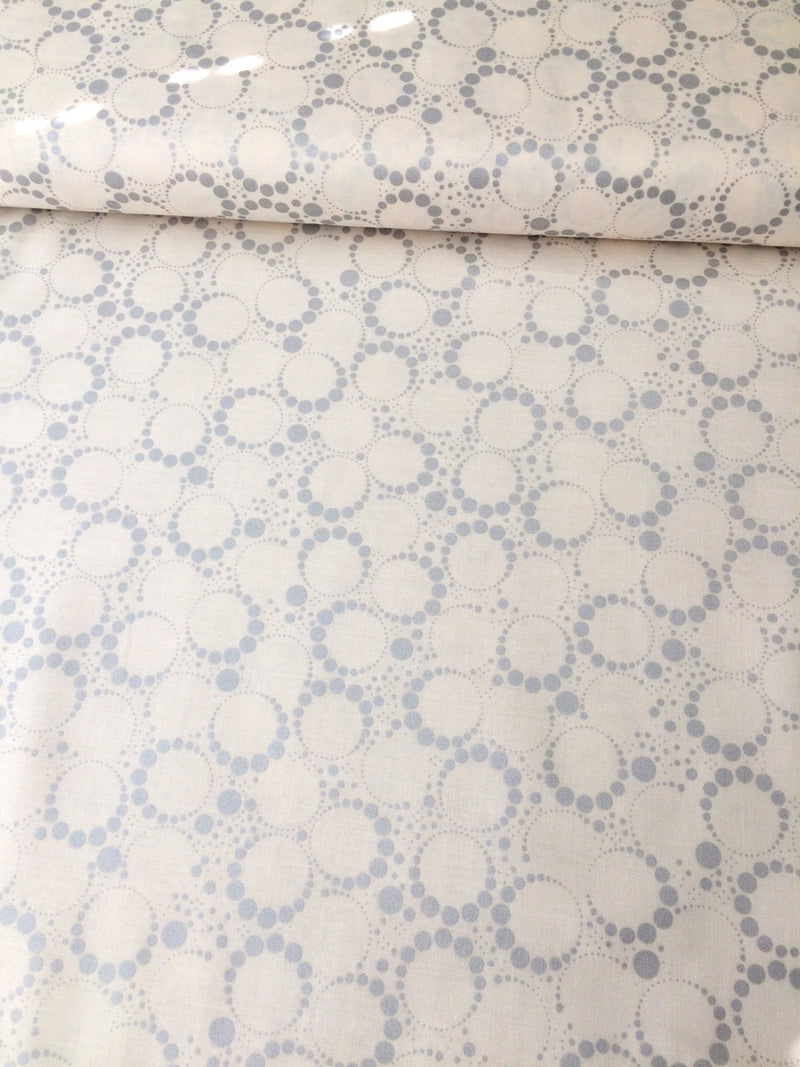 Copper metallic circles on white cotton from Andover Fabrics - view 2