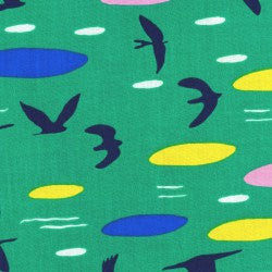 Modern art bird print of sky and clouds on green cotton from Cloud 9 Fabrics - view 1