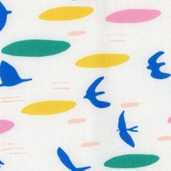 Modern Art Bird Fabric by Cloud 9 Organics from their Lore Collection - view 1