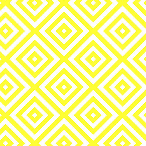 Geometric and diamond patterns on yellow fabric in an art deco print from Andover Fabrics - view 1