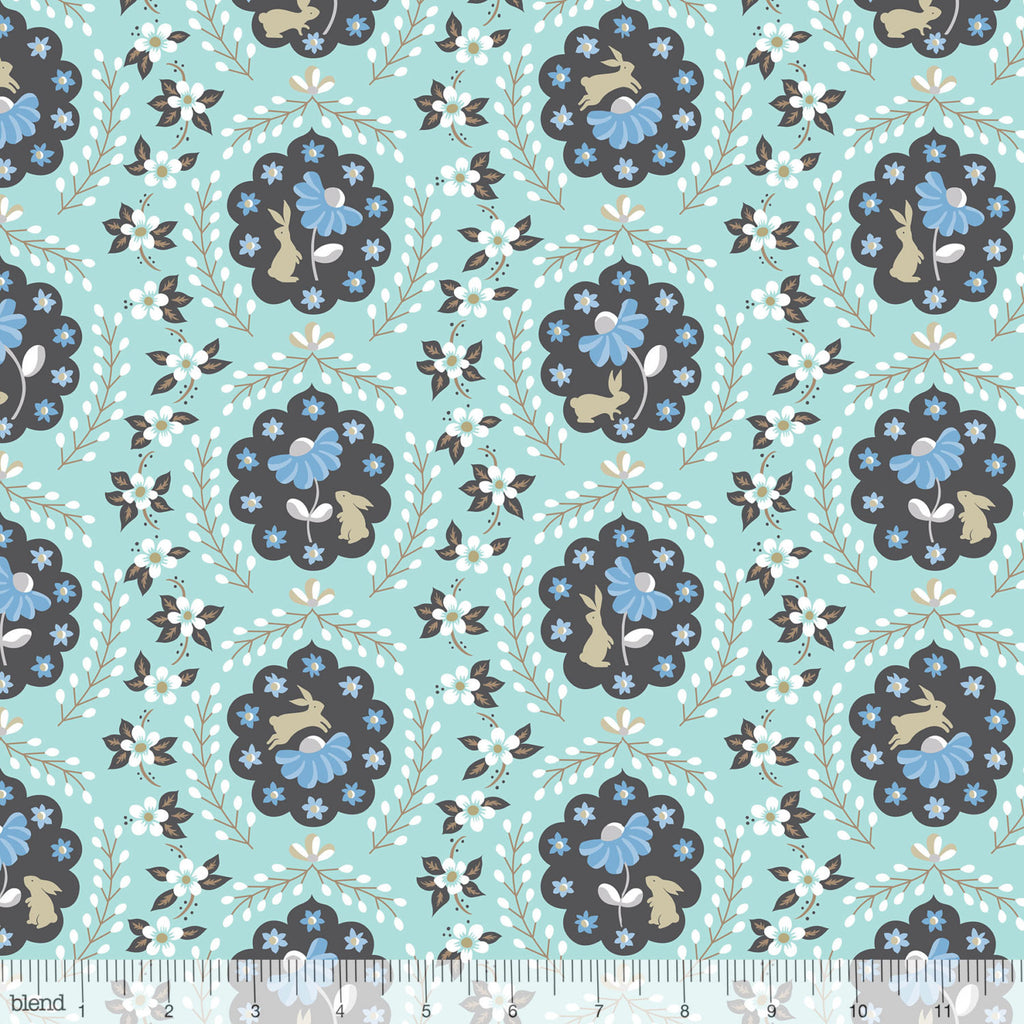 Cute white bunny rabbits on blue cotton from Blend Fabrics - view 1