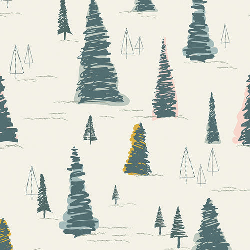 Pine trees on white cotton from Art Gallery Fabrics - view 1