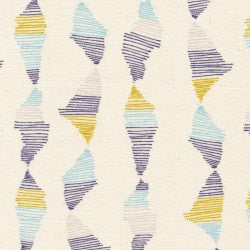 Blue and yellow stripes on natural organic cotton from Cloud 9 Fabrics - view 2