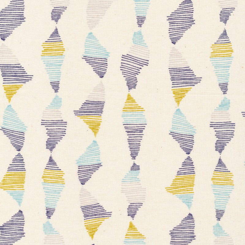 Blue and yellow stripes on natural organic cotton from Cloud 9 Fabrics - view 1