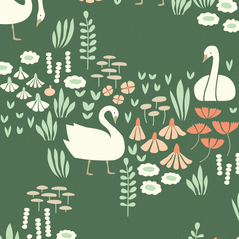 White swans on green organic cotton from Cloud 9 Fabrics - view 1
