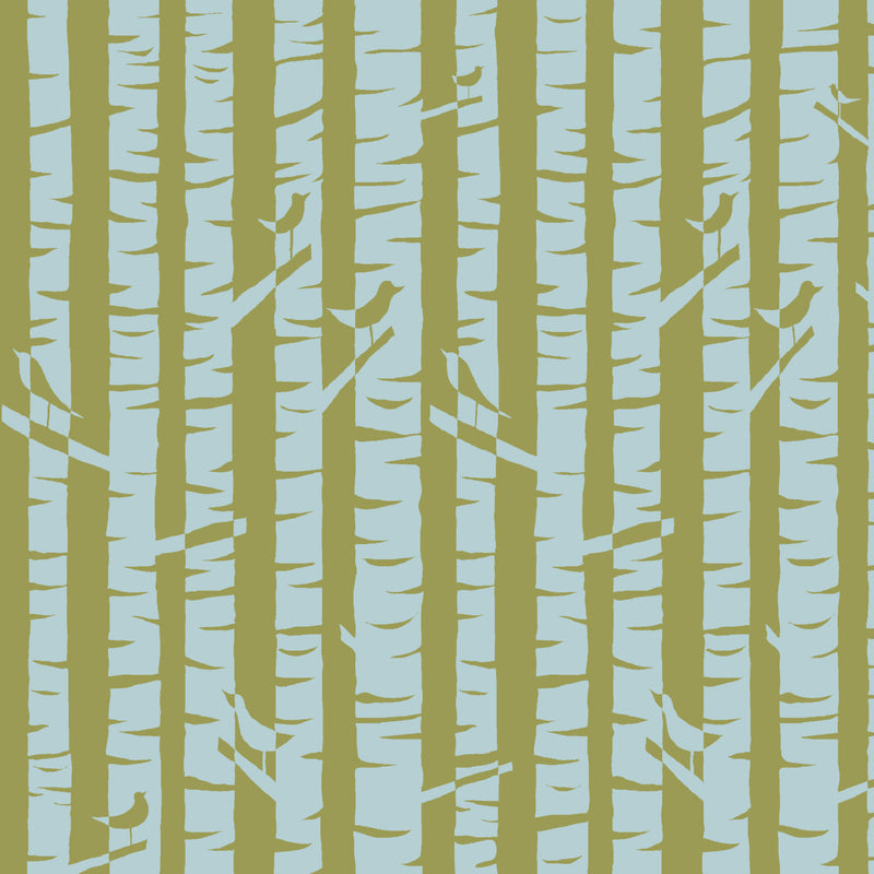 Birch Trees and Cute Birds on Organic Knit from Monaluna Fabrics
