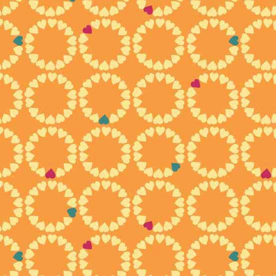 Hearts in circles on orange cotton from Andover Fabrics - view 1