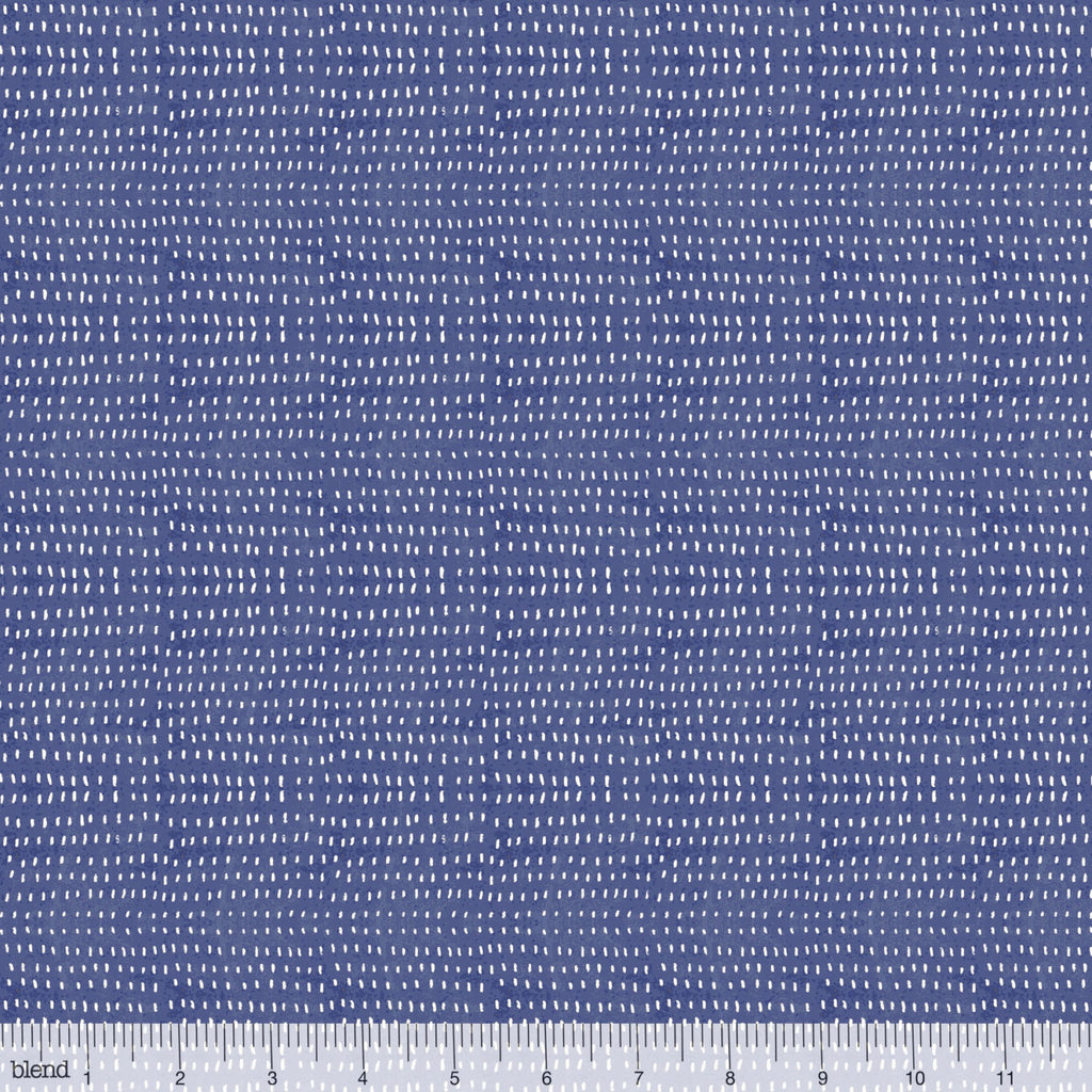 White polka dots on blue cotton from Blend Fabrics - view 1