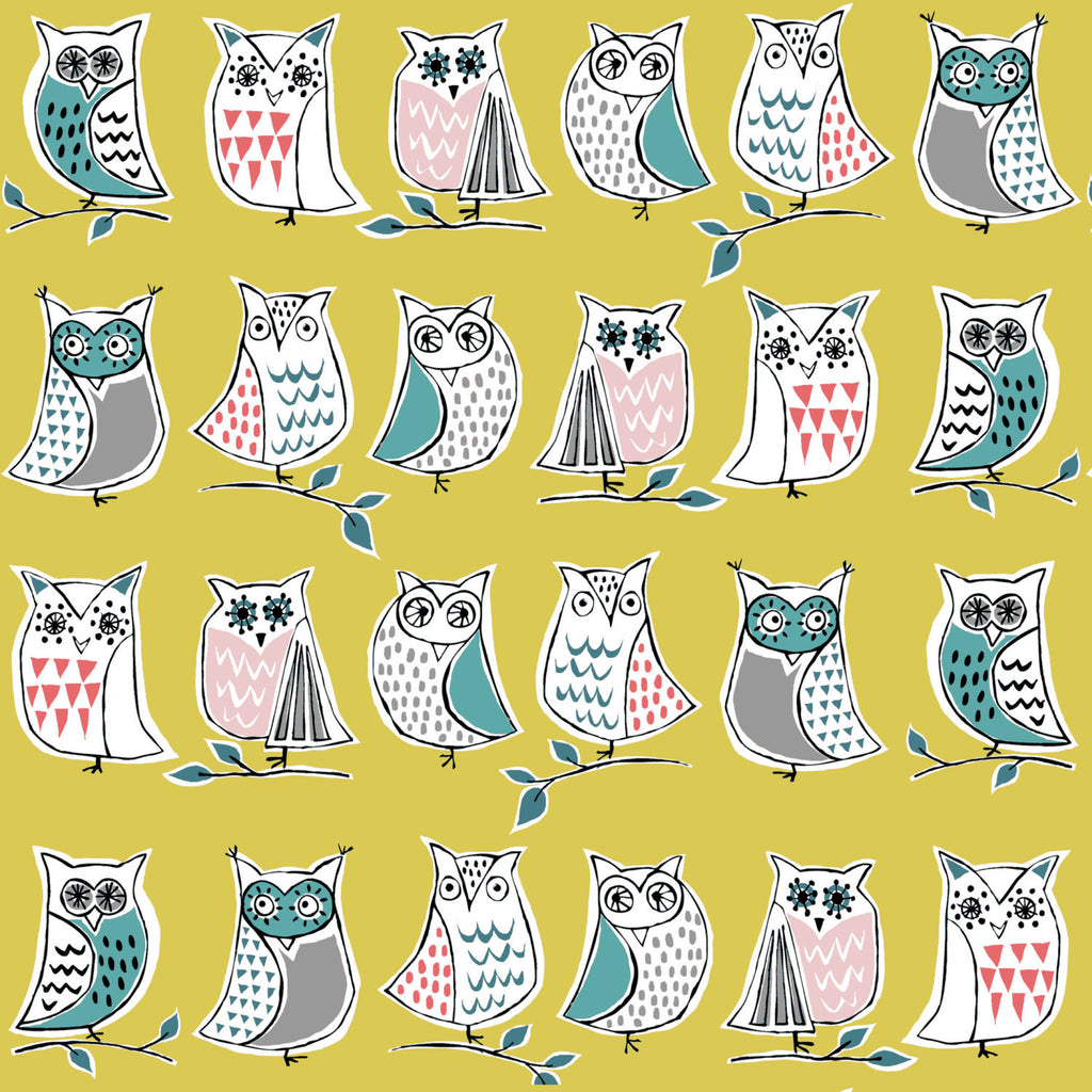 Fun and cute owls on yellow from Monaluna Fabrics - view 1