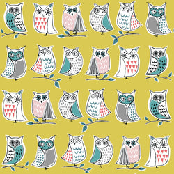 Fun and cute owls on yellow from Monaluna Fabrics