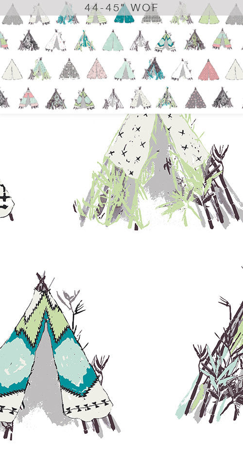 Tents on white cotton from Art Gallery Fabrics - view 2