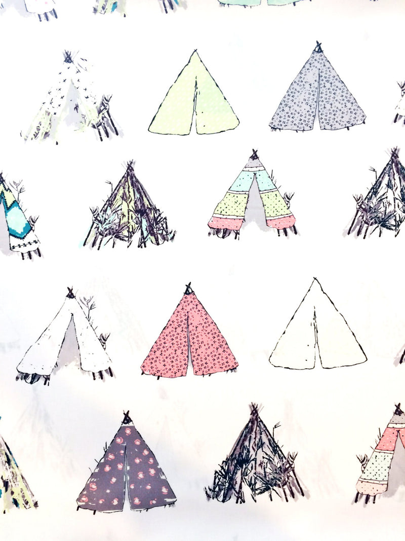 Tents on white cotton from Art Gallery Fabrics - view 1