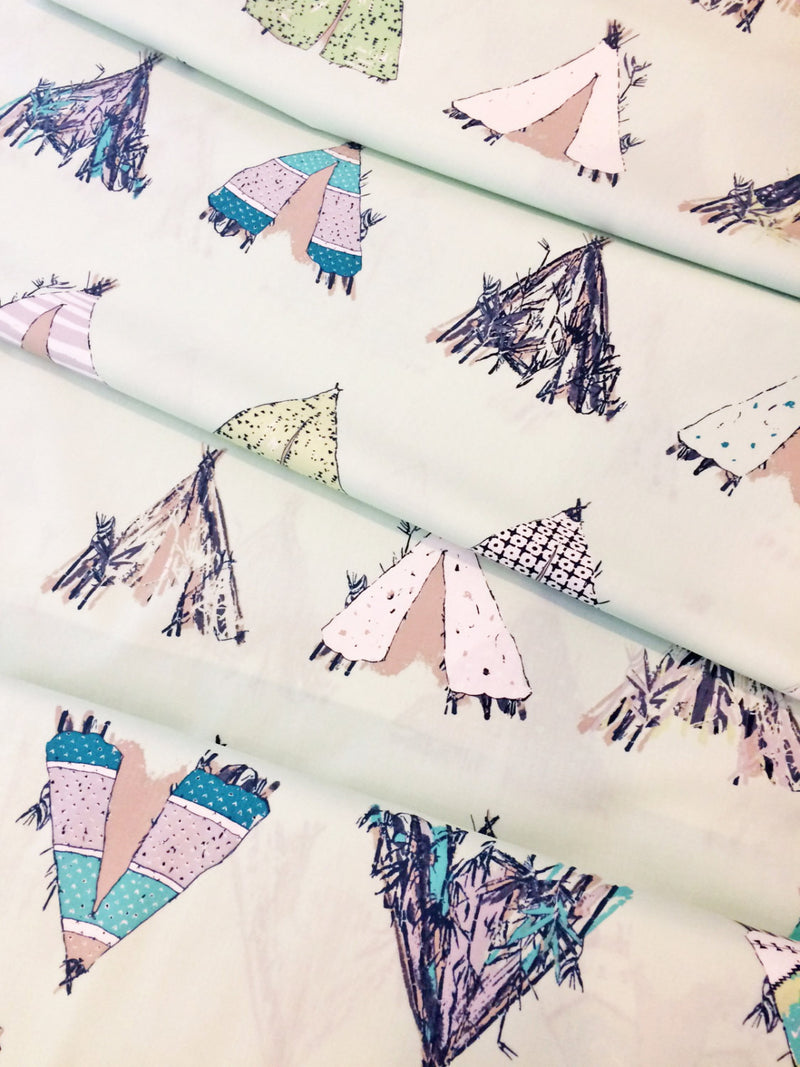 Tents on mint green cotton from Art Gallery Fabrics - view 3