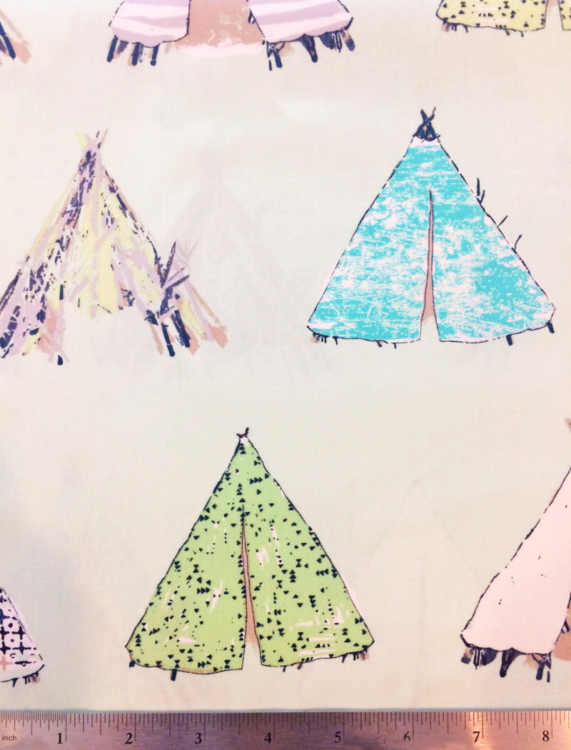 Tents on mint green cotton from Art Gallery Fabrics - view 4