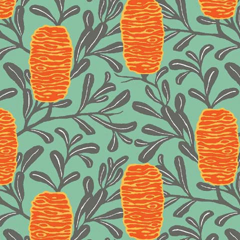 Orange honeycomb floral on green cotton from Ella Blue Fabrics - view 1