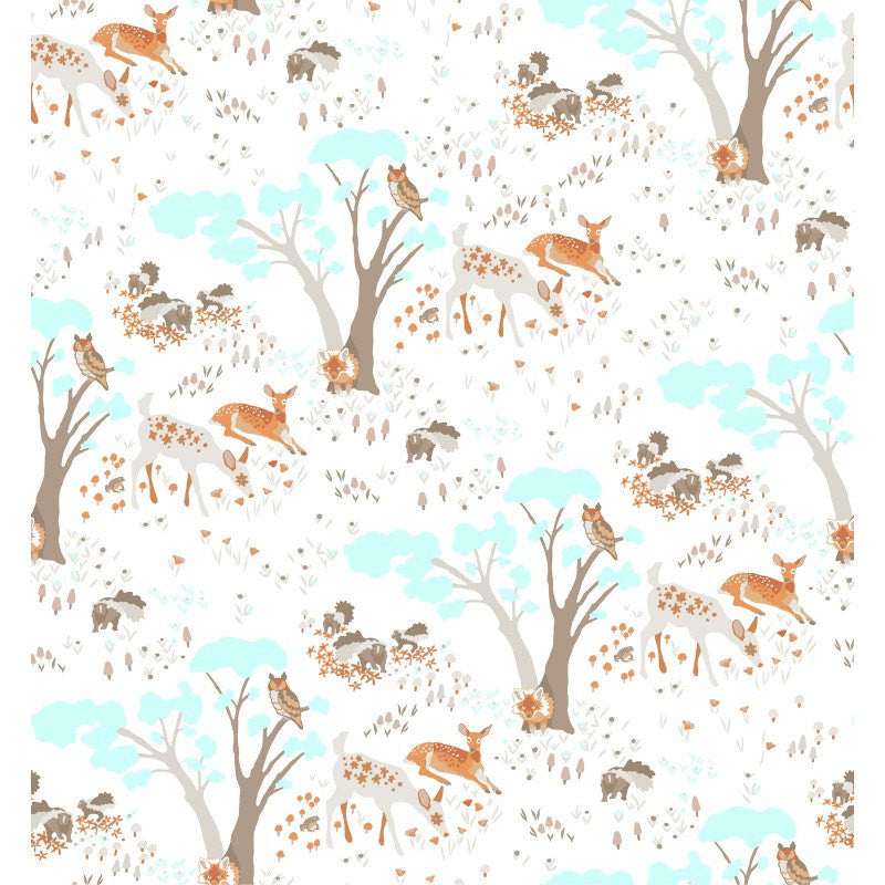 Deer and trees on white organic cotton from EE Schenck Fabrics - view 1
