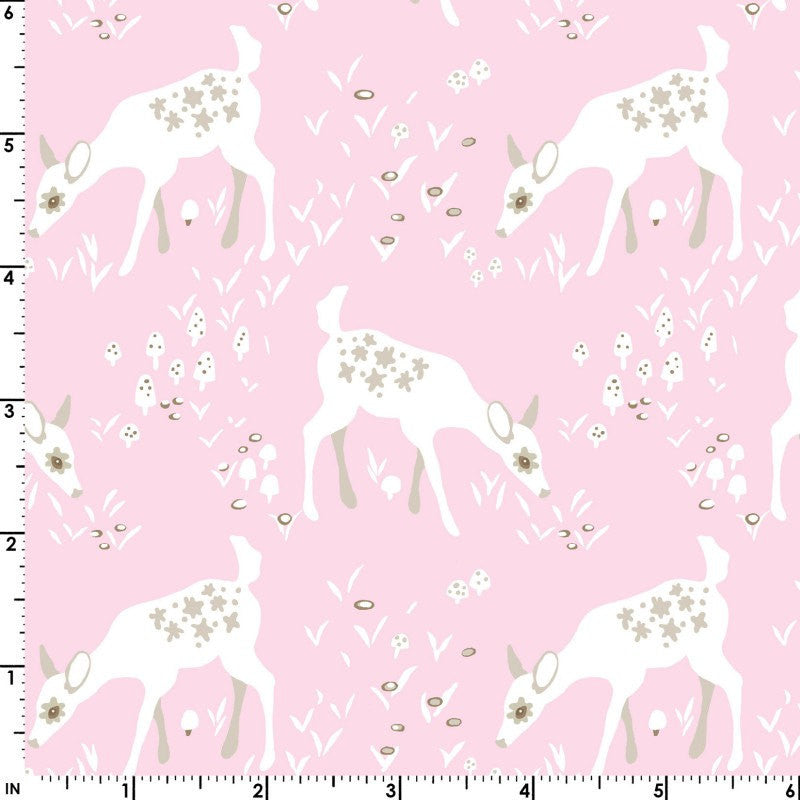 White deer on pink organic cotton from EE Schenck Fabrics - view 3