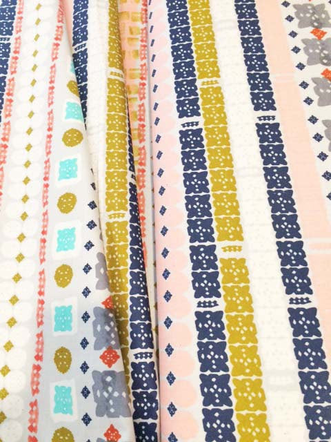 Stripes of geometric shapes on natrual cotton from Cotton and Steel Fabrics - view 2