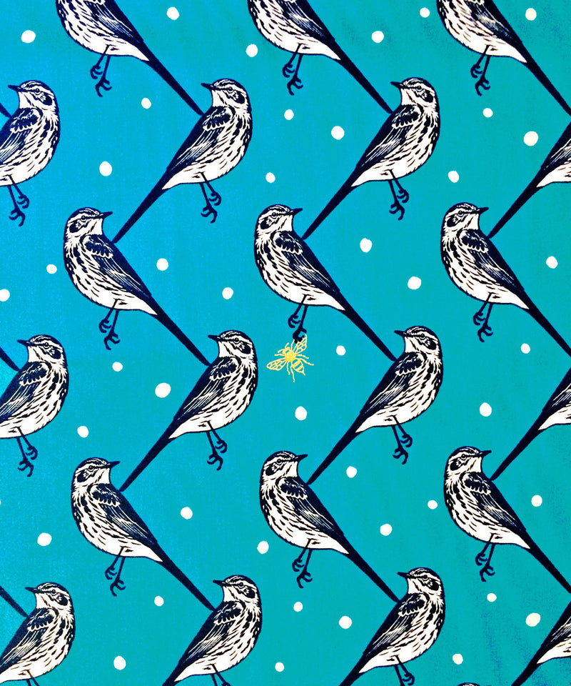 Unique blue bird print with silver metallic bumble bees from Seven Islands Japaneses Fabrics - view 1