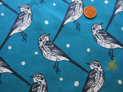 Unique blue bird print with silver metallic bumble bees from Seven Islands Japaneses Fabrics - view 2