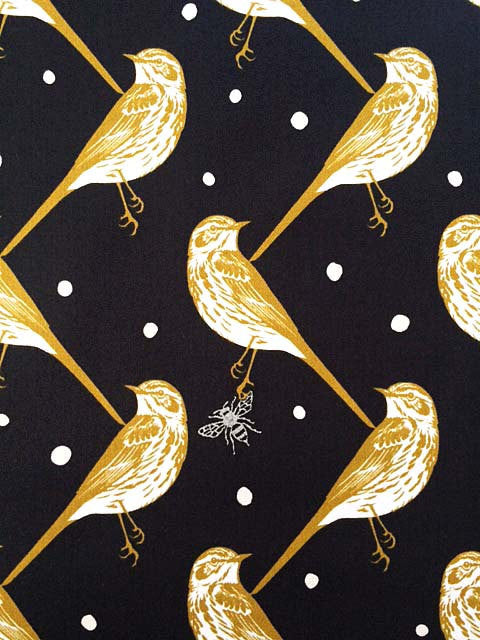 Beautiful gold birds on black sateen from Seven Islands Fabric - view 1