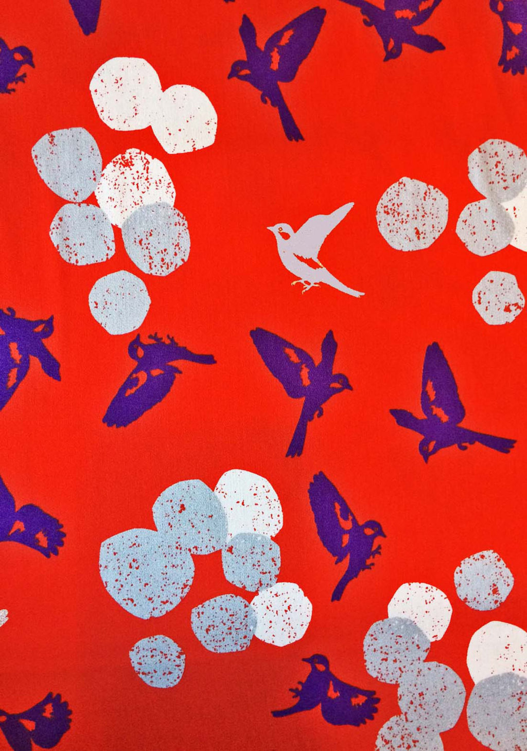 Beautiful bright red sateen cotton fabric with silver metallic birds from Japanese import Kokka Fabric - view 1