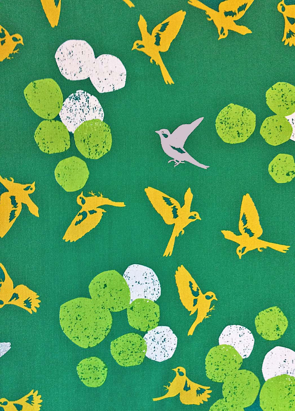 Beautiful gold birds on emerald green sateen from Kokka Fabric - view 1
