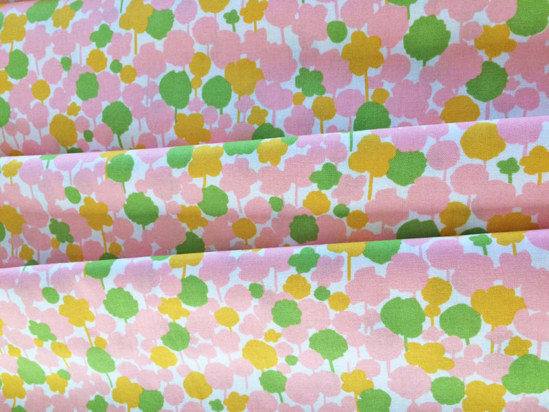 Pink and green floral on white cotton from Kokka Fabrics - view 3