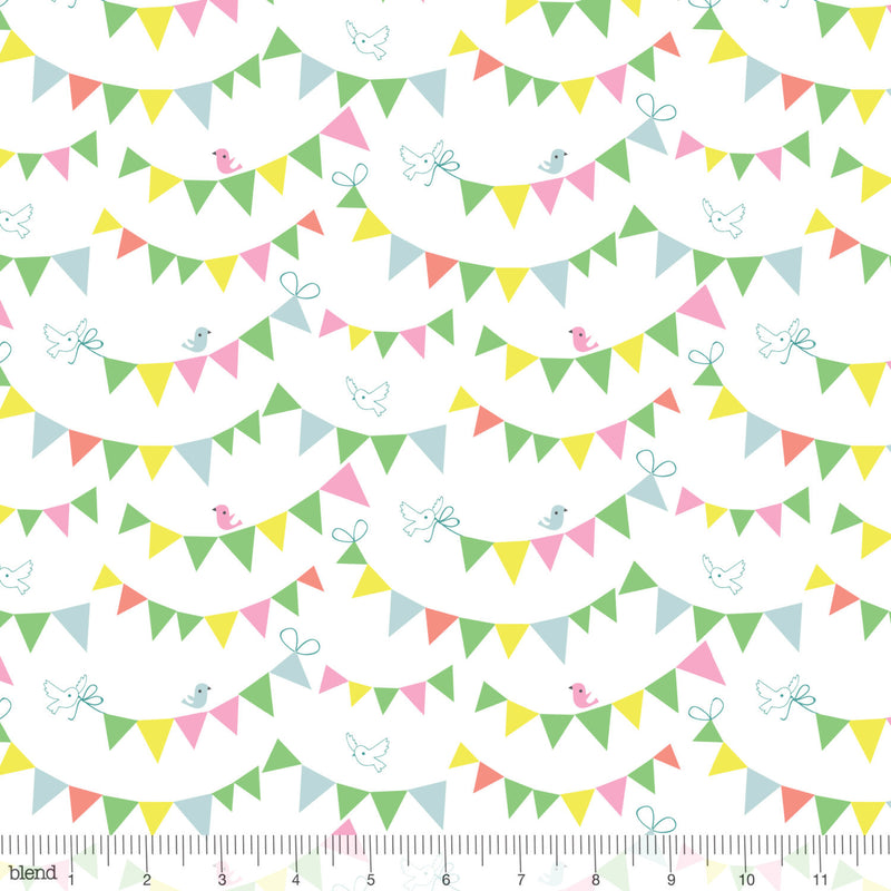 Little birds and flags on white cotton fabric from Blend Fabrics - view 1