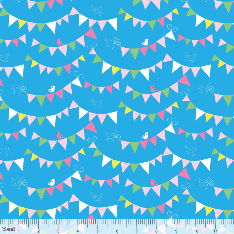 Little birds and flags on blue cotton fabric from Blend Fabrics - view 1