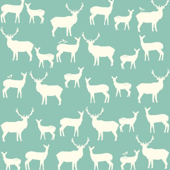 White deer on blue organic cotton from Birch Organic Fabrics - view 1
