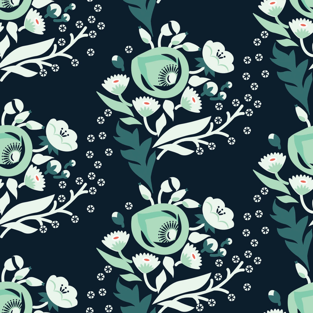 Retro floral on dark green organic cotton from Cloud 9 Fabrics - view 1