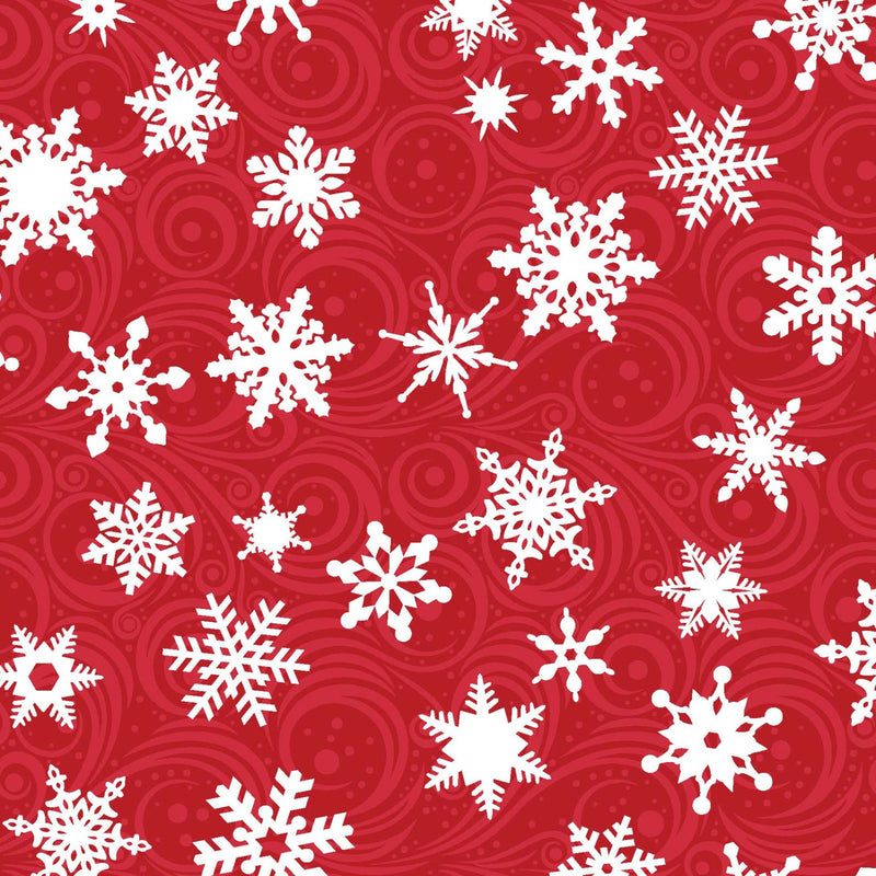 White snowflakes on red cotton from EE Schenck Fabrics - view 1