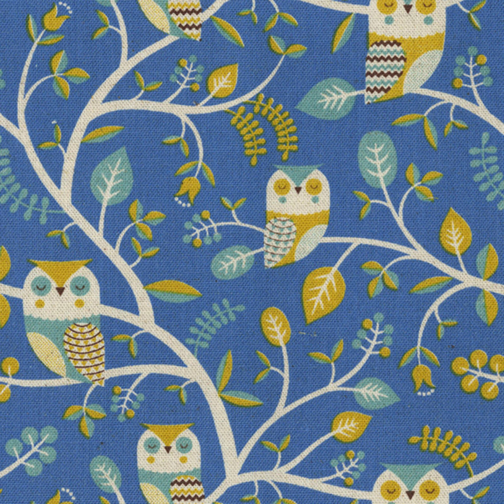Gold owls on white cotton from Art Gallery Fabrics - view 1